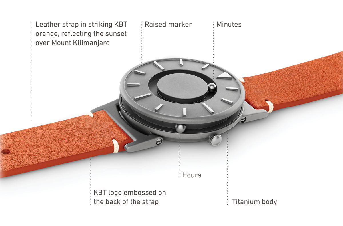 Image of Eone's KBT Bradley model showing hour and minute ball markers