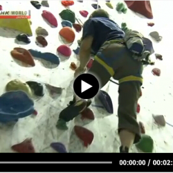 Image of video of Koba climbing. Click to play.